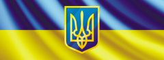 Sticker on car the Ukrainian flag with the coat of
