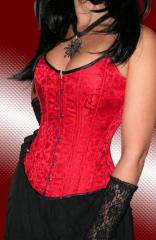 Corset from scarlet silk with the impressive
