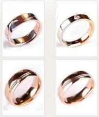 Кольца обручальные, золото Au 585 пробы с