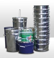 Buckets from ferrous metals, tins (the container