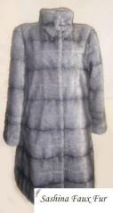 Fur coat from imitation of a silvery mink