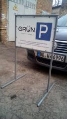 Figurative parking protection with removable legs. Advertizing parking protection.