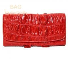 Женское портмоне из кожи крокодила (NPCM03BT red)