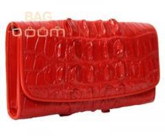 Женское портмоне из кожи крокодила (NPCM03T red)