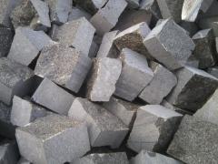 Chipped pilennaya a stone blocks from a gabbr