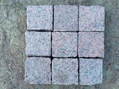 Chipped pilennaya a stone blocks from granite of