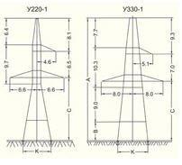 Анкерно-угловые опоры ВЛ 220, опоры ВЛ 330 кВ.