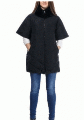 Черное пальто женское 100% пух - воротник мех