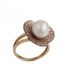 Кольцо, золото Au 585° пробы , белый жемчуг со