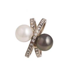 Кольцо, белое золото Au 585° пробы, черный и белый