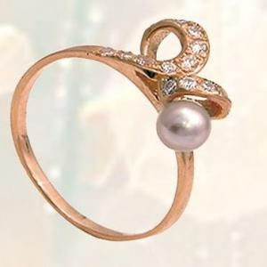 Кольцо, золото Au 585 пробы с вставками из жемчуга