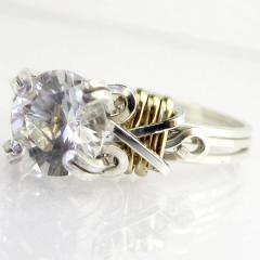 Серебряное кольцо со вставками позолоты и