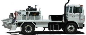 The concrete pump on T90S series truck platform.