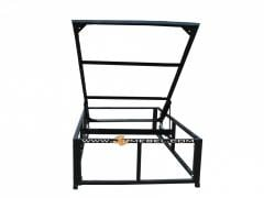 Bed frame with the lifting mechanism and the metal