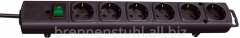 Extender of 6 sockets; cable 2 meters; black