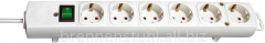 Extender of 6 sockets; cable 2 meters; white