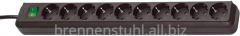 Extender of 10 sockets; cable 3 meters; black;