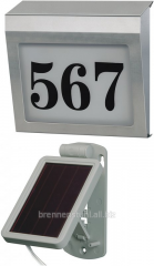 House number with illumination on the solar SH