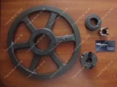 Pulleys for decrease of turns of the engine