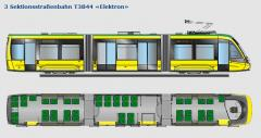 "3 Sektionsstraßenbahn T3B44 ""Elektron"