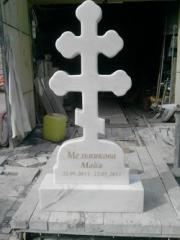 Manufacturing cross of white marble