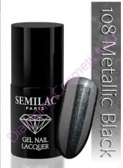Лак гибрид Semilac 108 Metallic Black