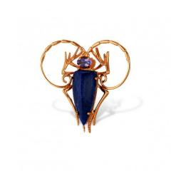 Jeweler brooch from red gold 585 of test with