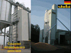 Dryers mine continuous action for drying grain,
