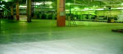 Floor concrete with polishing under a covering