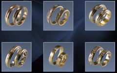 Кольца обручальные, желтое и белое золото Au 585°