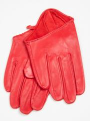 Leather gloves (short) for a car, red