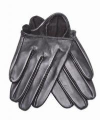 Leather gloves for a car (short), black