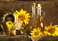 The sunflower oil which is not refined, a car and