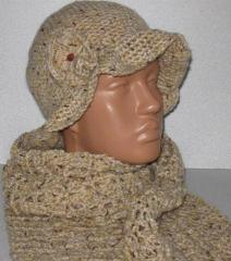 Hat with an openwork scarf