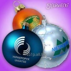 New Year's Christmas balls with a logo.