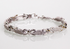 Bracelet silver, wired, with cubic zirconias