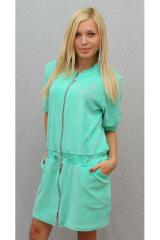 Женское велюровое платье мята 00108