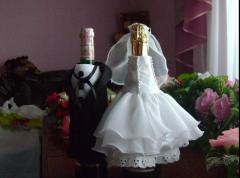 Украшение на свадебное шампанское, изготовление,