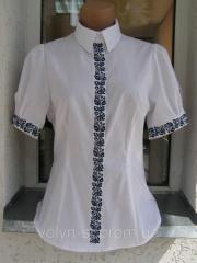 Blouse female embroidered with short sleeve of