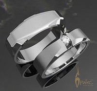 Обручальные кольца из белого золота 585 пробы с