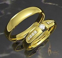 Обручальные кольца из желтого золота 585 пробы с