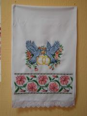 """Embroidered towels, Wedding towels """"Lily,"""