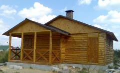 Siding blockhouse from pine - frame house Ukraine.