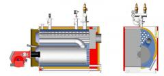 Hot-water three-way fire-tube boilers