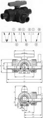 Трёхходовой шаровой кран тип 343,  PVC-UГориз