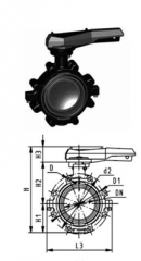 Опорный дисковый затвор тип 568,  PVC-UРукоят