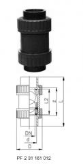Ball check valve type 360 PVC-US bells for butt
