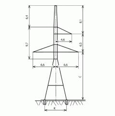 Анкерно-угловые опоры тип У220-1, У220-1+5,