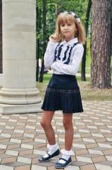 School skirt navy blue pleated fabric made from