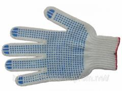 Gloves knitted with PVC point dense.